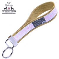 WRISTLET KEYCHAIN - LOVE PINK AND WHITE (RIBBON 16mm)